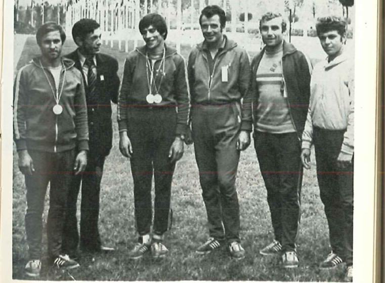 Satul olimpic în 1972. Ivan Patzaichin este alături de Covaliov, Danilov, Simionov și regretatul doctor Artenescu